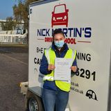 Laura smiling after passing her trailer test