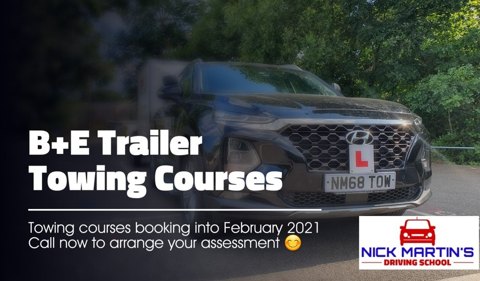 Welcome to Nick Martin's offering B+E trailer towing courses in Hampshire-Surrey-Berkshire-Sussex and across London.We have towing courses to suit all levels of ability and help you pass the trailer towing test in just 1-3 days ! So if you need to learn how to tow horse trailers ,Caravans or Boats you will be pleased you called with clients willing to travel after reading our 5* google reviews !! Nick has a team of instructors that also provide driving lessons in and around Farnborough in an automatic or manual vehicle with exceptional pass rates. So if your just starting to learn to drive or at a stage where towing a caravan or horse trailer is now required we cater for you all and look forward to seeing you achieve your goals!!